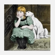 Dog Adoring Girl Victorian Painting Tile Coaster