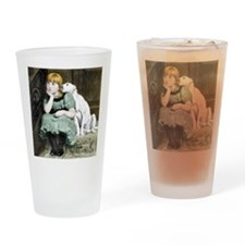 Dog Adoring Girl Victorian Painting Drinking Glass