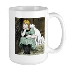 Dog Adoring Girl Victorian Painting Mug