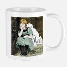 Dog Adoring Girl Victorian Painting Mug