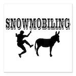 Snowmobiling Kicks Donkey Square Car Magnet 3