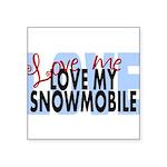 Love Me - Snowmobile Square Sticker 3