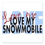 Love Me - Snowmobile Square Car Magnet 3