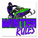 Winter Rules Square Car Magnet 3