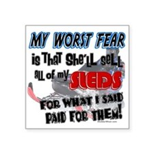 """worst fear.png Square Sticker 3"""" x 3"""""""