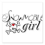 Snowmobile Girl Square Car Magnet 3