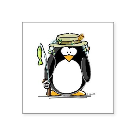 Fishing penguin Oval Sticker