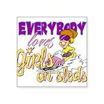 Girls on Sleds Square Sticker 3