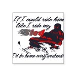 Ride Him Like My Sled Square Sticker 3