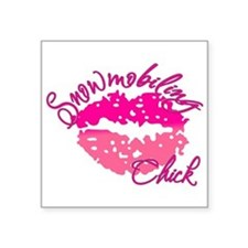 "Snowmobiling Chick Square Sticker 3"" x 3"""