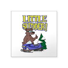 "Little Sledder Square Sticker 3"" x 3"""