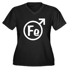 Fe Man Women's Plus Size V-Neck Dark T-Shirt