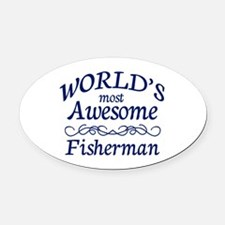 Awesome Fisherman Oval Car Magnet