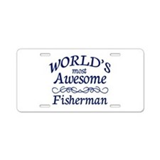 Awesome Fisherman Aluminum License Plate