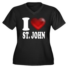 I Heart St. John Women's Plus Size V-Neck Dark T-S