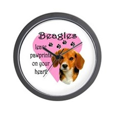 Beagle Pawprints Wall Clock