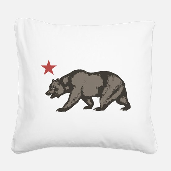 California Bear with star Square Canvas Pillow