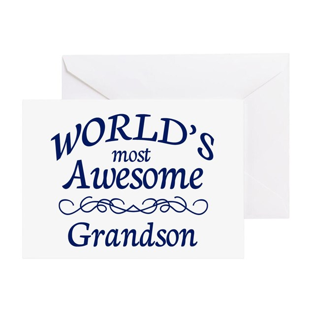 Awesome Grandson Greeting Card By SimplyShapes