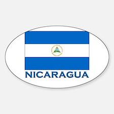 Nicaragua Flag Gear Oval Decal