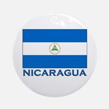 Nicaragua Flag Gear Ornament (Round)