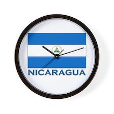Nicaragua Flag Gear Wall Clock
