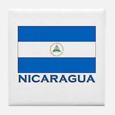 Nicaragua Flag Gear Tile Coaster