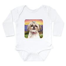 Shih Tzu Meadow Long Sleeve Infant Bodysuit