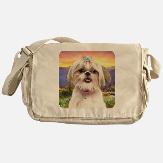Shih Tzu Meadow Messenger Bag