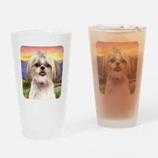 Shih Tzu Meadow Drinking Glass