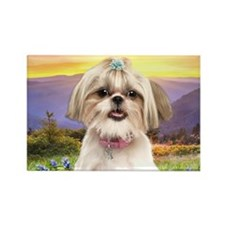 Shih Tzu Meadow Rectangle Magnet