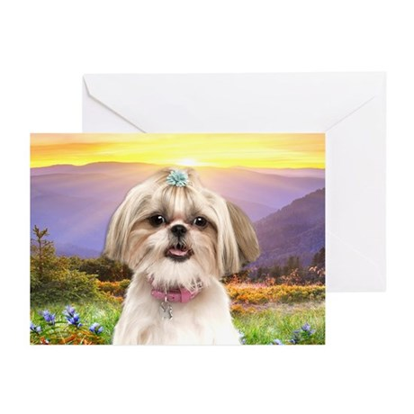 Shih Tzu Meadow Greeting Cards (Pk of 10)