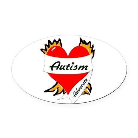 Autism Advocate Tattoo Heart Oval Car Magnet