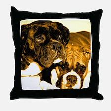 Boxer Dog Friends Throw Pillow