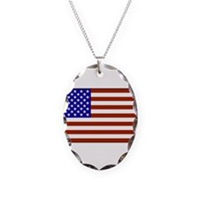 Stars and Stripes Necklace Oval Charm