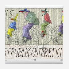 1985 Austria Bicycles Postage Stamp Tile Coaster