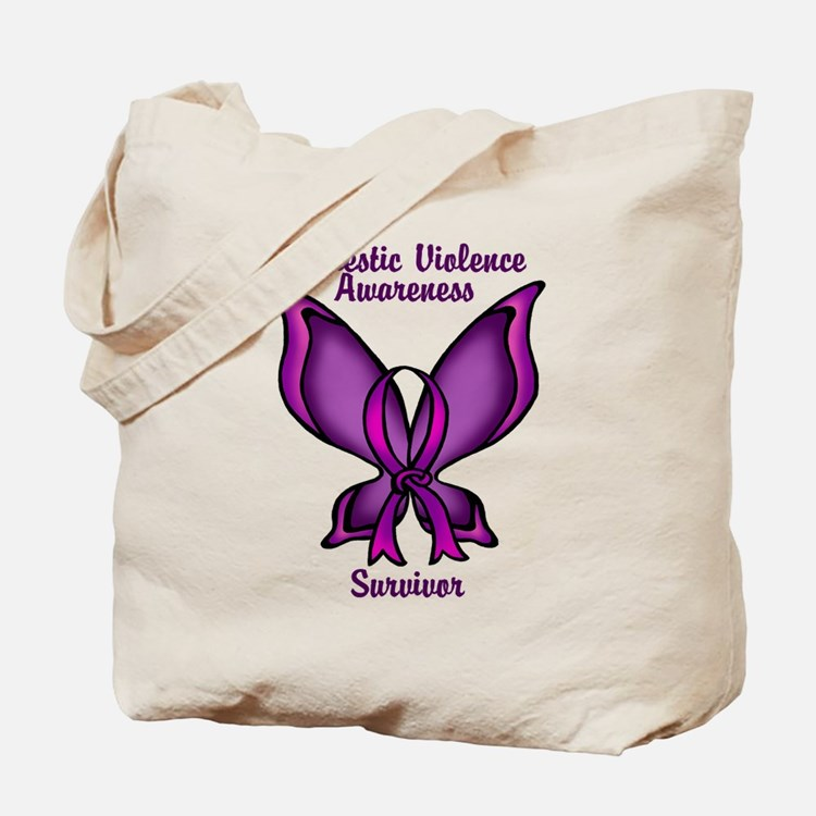 Domestic Violence Awareness Butterfly Ribbon Tote