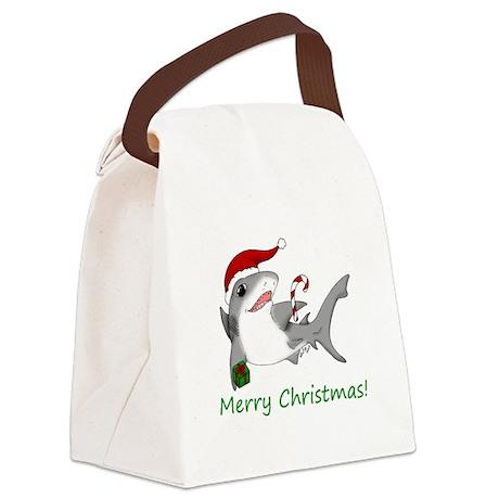sharkaxmas.jpg Canvas Lunch Bag