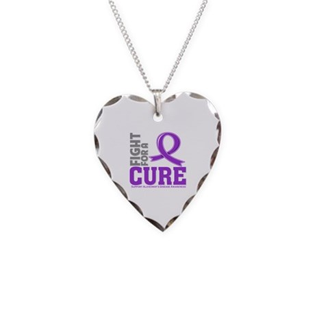 Alzheimers Disease Fight Necklace Heart Charm
