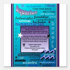 """AQUARIUS BIRTHDAY Square Car Magnet 3"""" x 3"""""""