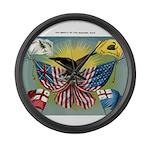 1885 History of US flag Large Wall Clock