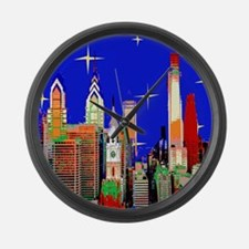 Philadelphia Starry Night Large Wall Clock