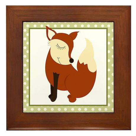 Woodland Fox with Border Framed Tile