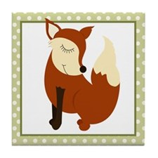 Woodland Fox with Border Tile Coaster