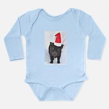 Micro pig with Santa hat Long Sleeve Infant Bodysu