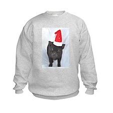 Micro pig with Santa hat Sweatshirt