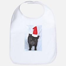 Micro pig with Santa hat Bib