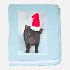 Micro pig with Santa hat baby blanket