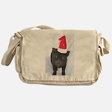 Micro pig with Santa hat Messenger Bag