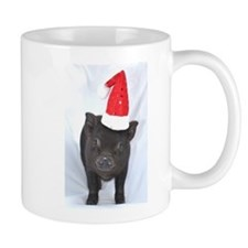 Micro pig with Santa hat Small Mug