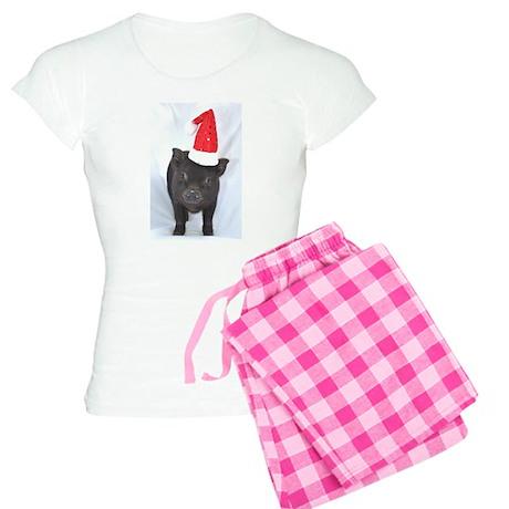 Micro pig with Santa hat Women's Light Pajamas